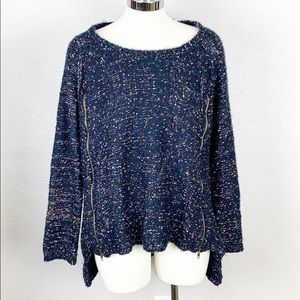 Vintage Havana Navy Blue Marled Zipper Sweater S